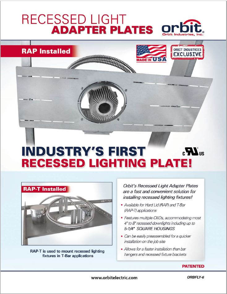 Recessed Light Adapter Plate Flyer  sc 1 st  Orbit Industries & Literature