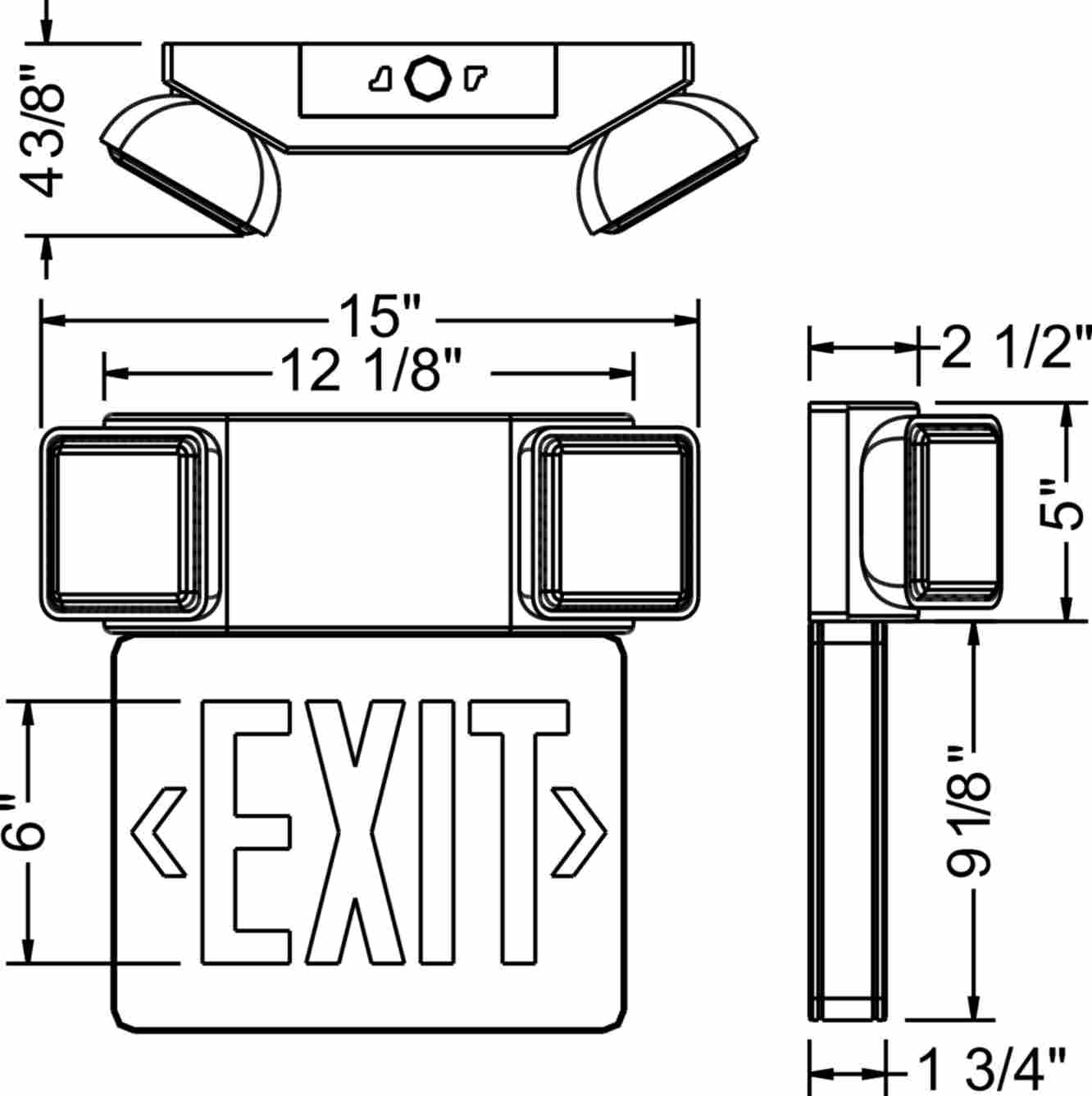 esbl2n - exit sign  u0026 emergency light combo