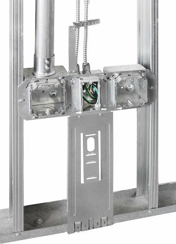 """KFB-318 installed with 4"""", 4-11/16"""" and 5"""" square boxes"""
